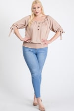 Simply Cute Off-Shoulder x Smocking Top - Khaki - Front