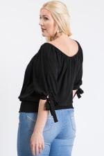 Simply Cute Off-Shoulder x Smocking Top - Black - Back
