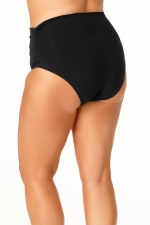 Anne Cole® Live in Color Hi Waist Shirred Swimsuit Bottom - Black - Back