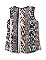 Animal Knit Top Shell - Ivory/Tan/Black - Back
