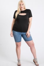Casual Top With A Twist - Black - Front