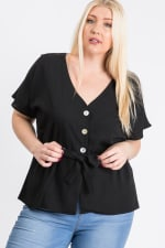 Waist Band With Front Ribbon Top - Black - Back