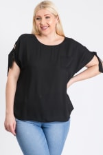 Ribbon Sleeve Top - Black - Front
