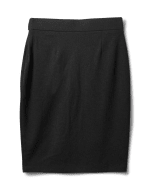 Faux Wrap Skirt with Buckle Trim - Black - Back