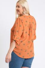 Over Wrap Top - Orange - Back