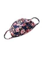 Mauve Floral Bouquet Fashion Mask - Navy/Mauve - Front