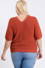 V-Neck Sweater - Rust - Back