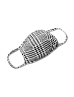 Houndstooth Fashion Mask - Black/White - Front