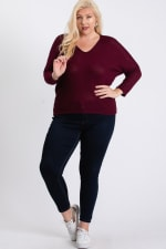 Waffle-Knit Jersey Top - Burgundy - Front