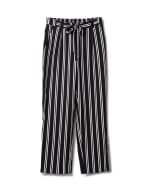 Striped Soft Pant with Elastic Waist, Soft Tie Belt - Black/white - Front