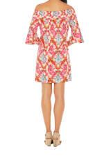 Caribbean Joe® UPF Sun Protection Off the Shoulder Dress - Very Berry - Back