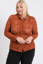 Lace Buttoned Blouse - Rust - Front