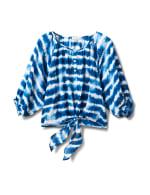 Tie Dye Tie Front Peasant Blouse - Denim Blue - Front