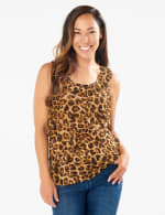 Animal Mesh Tier Knit Top - Misses - Brown - Front