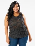 Dot MeshTier Knit Top - Black/White - Front