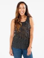 Dot Mesh Tier Knit Top -  - Front