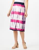 Rayon Gauze Skirt with Decorative Waistband - Fuschia/Navy - Front