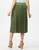 Rayon Gauze Skirt with Decorative Waistband - Olive - Back