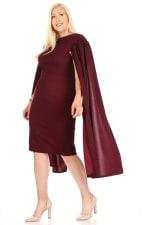Burgundy-Loving Bodycon Midi Dress - Burgundy - Detail