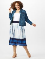 Rayon Gauze Pull On Skirt with Decorative Waistband - Blue/white - Front