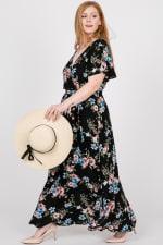 Colorful Floral Maxi Dress - Black - Detail