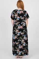 Colorful Floral Maxi Dress - Black - Back