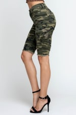 Ripped & Skinny Bermuda Shorts - Army - Detail