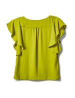 Crepe Flutter Sleeve Blouse - Apple Green - Back