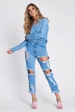Savage Distressed Mom Jeans - Medium stone - Front