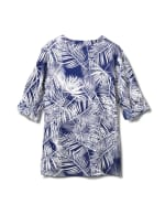 Palm Print Woven Popover - Navy - Back
