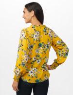 Ruffle V-neck Floral Blouse - Golden Mustard - Back