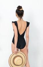 Low V-Neck Ruffle Sleeve Swimsuit - Black - Back