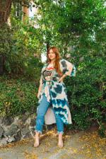 Women's Curve Enhancing Goddess Kimono- Plus - Blue - Front