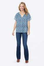 NYDJ Short Sleeve Peasant Blouse - FULL BLOOM MOSAIC BLUE GLOW - Front
