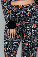 Heart x Love Elastic Casual Pants - Black - Detail