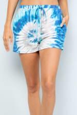 Vibrant Tie Dye Print Shorts - Blue - Detail