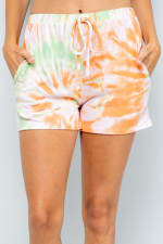 Vibrant Tie Dye Print Shorts - Orange - Detail