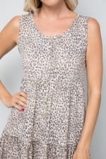 Leopard Short Dress - Mocha - Detail