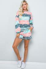 Tie Dye Pullover Top - Mint - Front