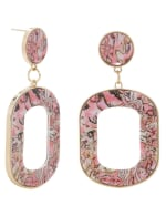 Plexi Abalone Ring Post Earring - Pink - Back