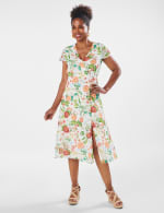 Surplice Floral Midi Dress - Misses - Ivory - Front