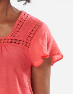 Crochet Trim Textured Square Neck Woven Top - CORAL - Detail