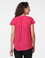 Crochet Trim Flutter Sleeve Textured Woven Top - Fuschia - Back