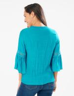 Textured Crochet V Neck Woven Top - Peacock Plume - Back