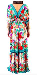 Floral Boho Peasant Dress - Multi - Detail