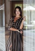 Kaftan Striped Dress - Black stripe - Front