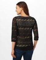 Crochet Lined Knit Top - Black/Nude - Back