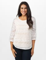 Crochet Lined Knit Top - Ivory/Nude - Front