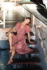 Polka Dot Wrap Dress - Salmon - Front