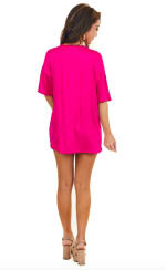 Low V Laced Oversized Tee - Pink - Back